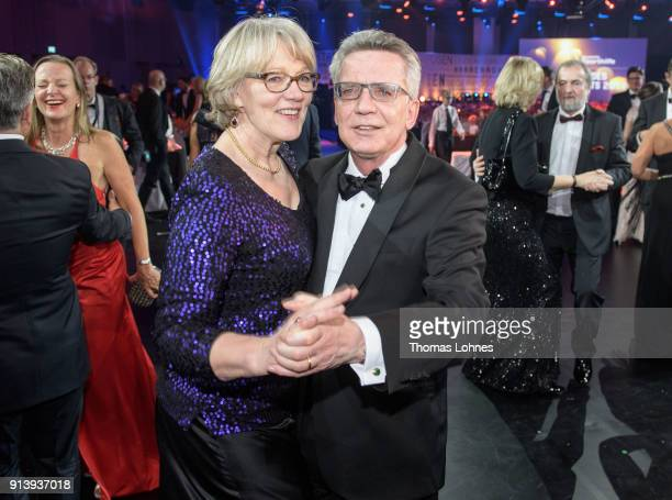 Interior Minister Thomas de Maiziere and his wife Martina dance together at the German Sports Gala 2018 'Ball Des Sports' on February 3, 2018 in...
