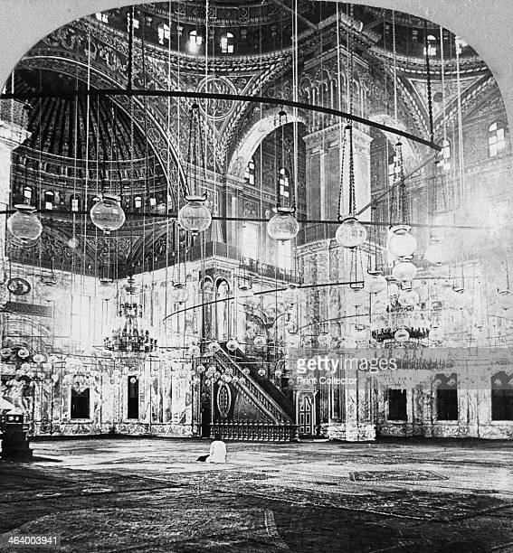 Interior Mosque of Muhammad Ali Cairo Egypt 1899 The mosque was built by the Viceroy of Egypt Muhammad Ali between 1830 and 1848 Stereoscopic card...