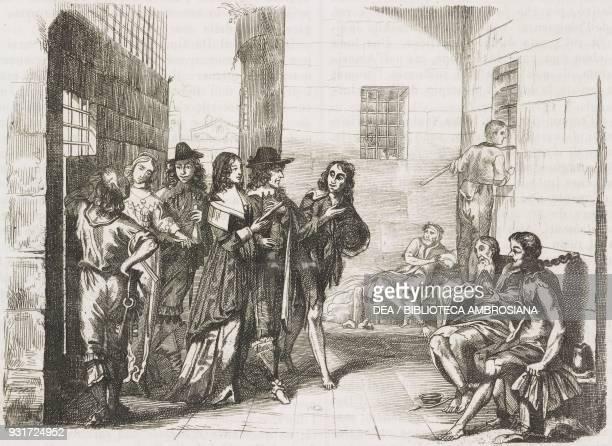 Interior of a 17th century prison in France engraving from L'album giornale letterario e di belle arti July 1 Year 15