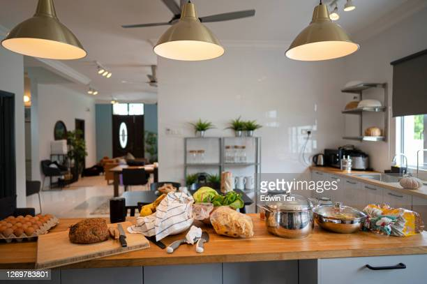 interior of a banglow house kitchen room in day time without people - cosy stock pictures, royalty-free photos & images
