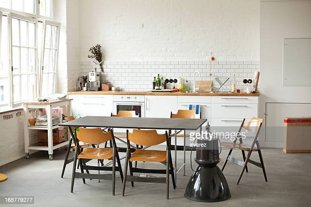 interior of a berlin kitchen - loft stock photos and pictures