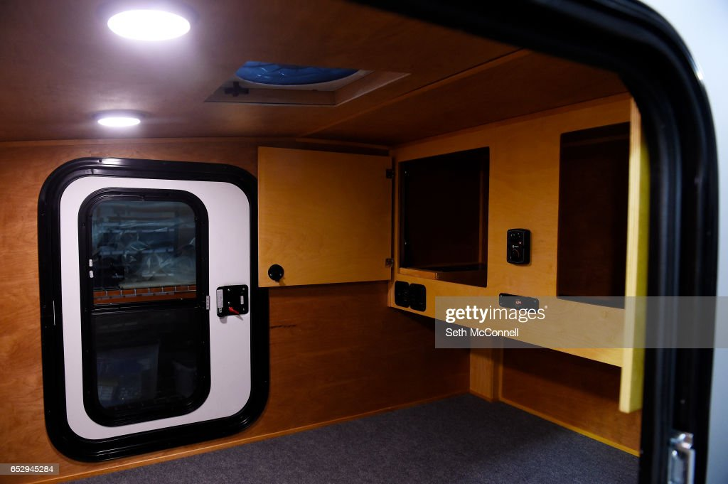 Interior of a camper at Into the Wild Overland on March 9, 2017 in Arvada, Colorado. Into the Wild Overland build unique campers.