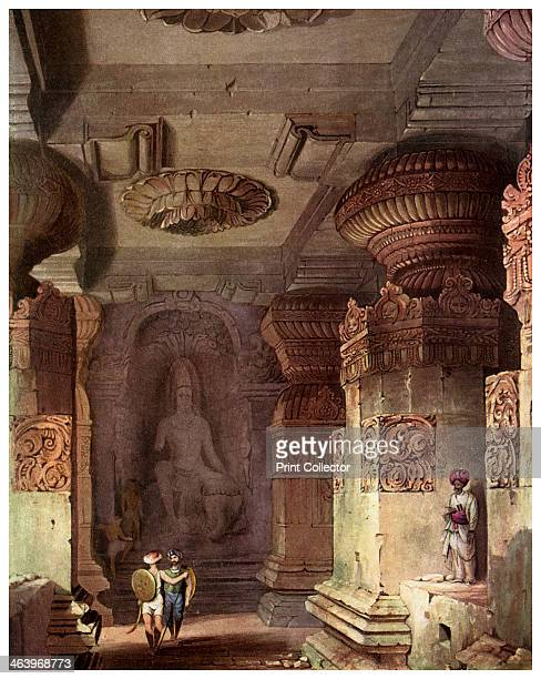 Interior of a cave temple Ellora Maharashtra India 19th century Ellora is famous for its rock temples a series of caves carved out of the rocky...
