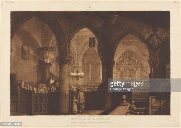 Interior of a Church, published 1819. Artist JMW Turner.