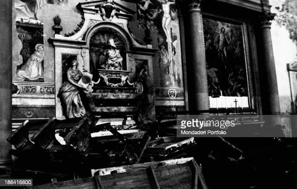 Interior of a church struck by the flood of the Arno River Florence November 1966