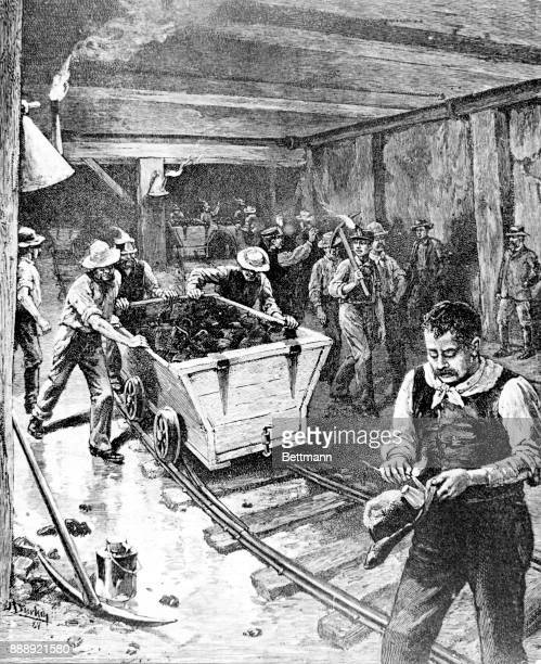 Interior of a Coal Mine in the Chattanooga District Drawing 1885