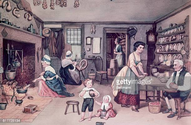 Interior of a colonial kitchen Color engraving Undated