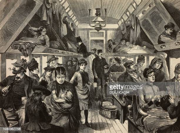 Interior of a Colonial sleeping-car on the Canadian Pacific Railway, engraving after a sketch by Melton Prior , from The Illustrated London News, No...