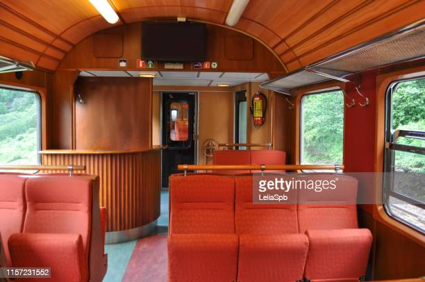 interior of a comfortable railway car - railroad car stock pictures, royalty-free photos & images