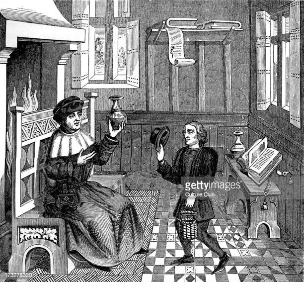 Interior of a Doctor's House - from reproduction of a miniature from 'Epistre de Othea' by Christine de Pisan, 15th century manuscript. CP:...