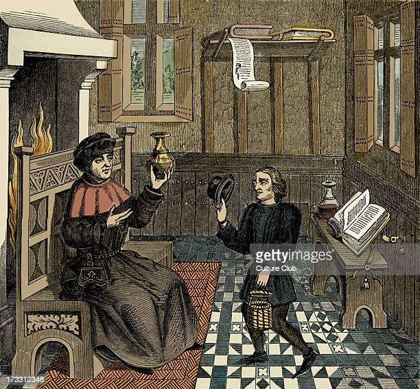 Interior of a Doctor's House from reproduction of a miniature from 'Epistre de Othea' by Christine de Pisan 15th century manuscript CP Venetianborn...