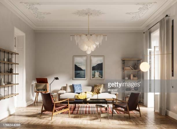 interior de uma sala doméstica em renderização 3d - europa locais geográficos - fotografias e filmes do acervo