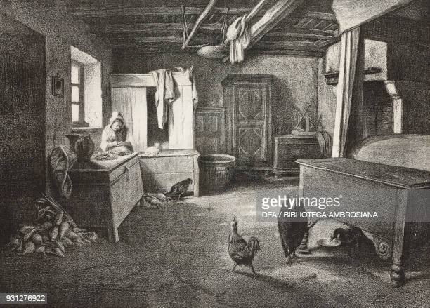 Interior of a farmhouse in Poitou France drawing by Penaville from a painting by Paul Alfred De Curzon illustration from Musee FrancaisAnglais n 32...