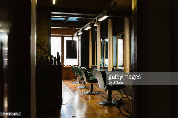 interior of a hairdresser shop - barber stock pictures, royalty-free photos & images
