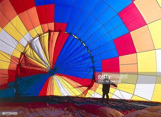 Interior of a hot air balloon at the Balloonfestival Toblach Pustertal TrentinoAlto Adige Italy