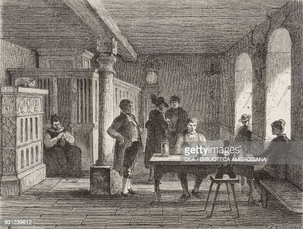 Interior of a hotel in the Black Forest Germany drawing from real life by Francois Stroobant from The Black Forest by Alfred Michiels from Il Giro...