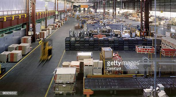 Interior of a huge industrial warehouse during a daywork