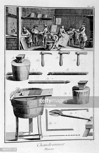 Interior of a Ironmongers and plans of instruments 17511777 A print from the Encyclopédie ou Dictionnaire Raisonné des Sciences des Arts et des...