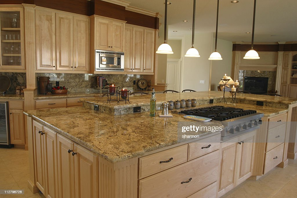 Interior Of A Large Spacious Kitchen With Island Counter