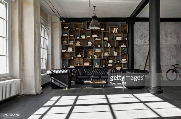 interior of a loft flat - loft stock photos and pictures