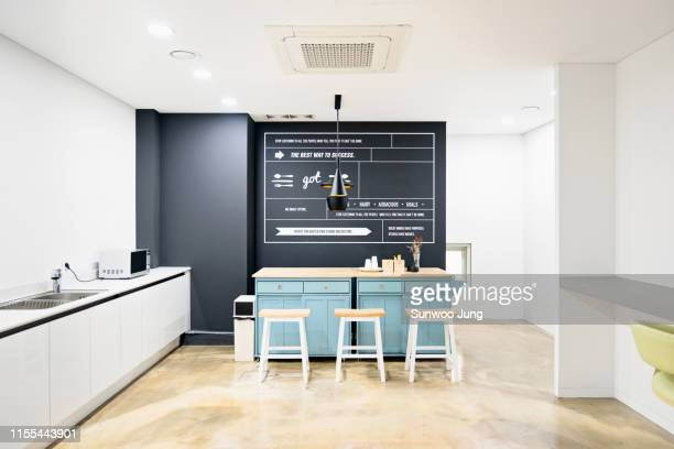 interior of a modern co-working office - canteen stock pictures, royalty-free photos & images