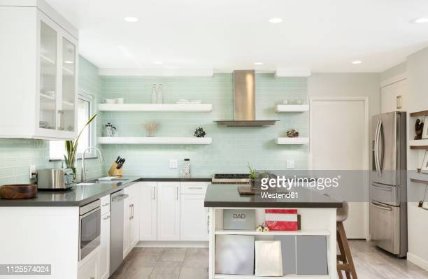 interior of a modern kitchen - kitchen stock pictures, royalty-free photos & images