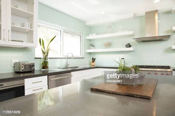 interior of a modern kitchen - kitchen counter stock pictures, royalty-free photos & images