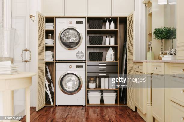 interior of a modern laundry room - laundry stock pictures, royalty-free photos & images
