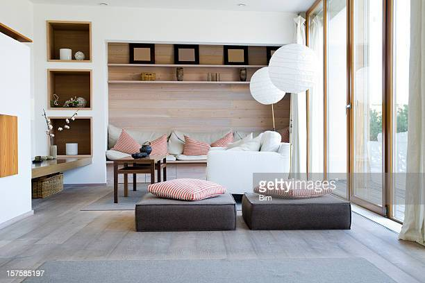 interior of a modern living room - carpet decor stock photos and pictures