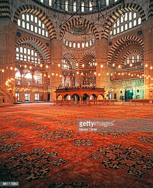 interior of a mosque - selimiye mosque stock pictures, royalty-free photos & images