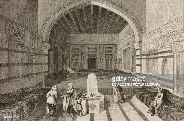 Interior of a palace in Damascus Syria engraving by Lemaitre and Venderburch from Arabie by Noel Desvergers avec une carte de l'Arabie et note by...