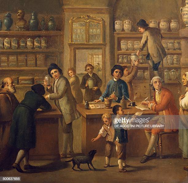 Interior of a pharmacy painting by an unknown artist 18th century Rome Museo Storico Nazionale Dell'Arte Sanitaria