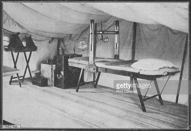 Interior of a Portland field hospital during the Boer War in South Africa The Xrays and operating bed 1900 From Black White Budget Vol III [The Black...