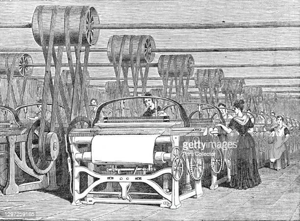 Interior of a Power-Loom factory, 1844. 'We are persuaded that the annexed engraving will be interesting to our readers, in connection with the great...