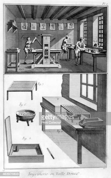 Interior of a Printing Works 17511777 A print from the Encyclopédie ou Dictionnaire Raisonné des Sciences des Arts et des Métiers by Diderot...