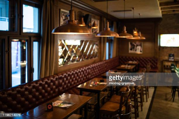 interior of a pub without customers - irish culture stock pictures, royalty-free photos & images