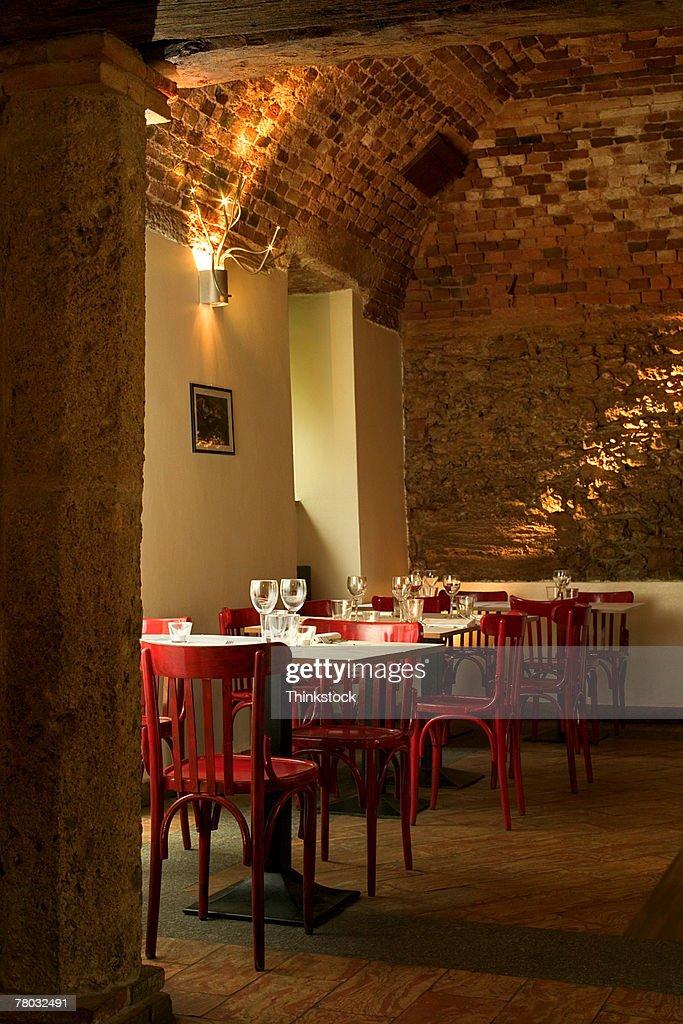 Interior Of A Quaint Italian Restaurant With Brick Arch ...
