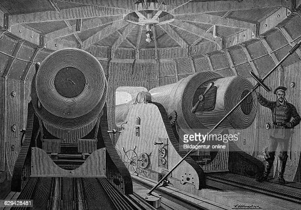 Interior of a revolving armored turret on a ship historical illustration about 1886