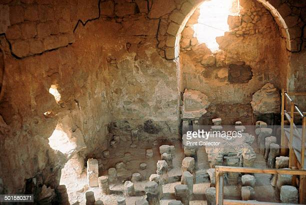Interior of a Roman bathhouse showing the hypocaust in Masada Israel