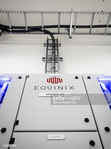 Interior of a server room in the American the Internet connection and data center company Equinix in Amsterdam on July 14, 2021. - Netherlands OUT /...