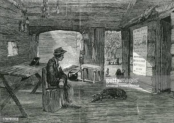 Interior of a settler's hut in the Australian bush 1849