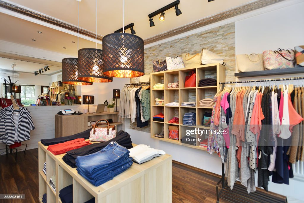 Interior of a store selling women's clothes and accessories : Stock Photo