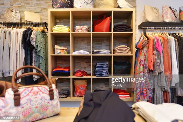 Interior of a store selling women's clothes and accessories