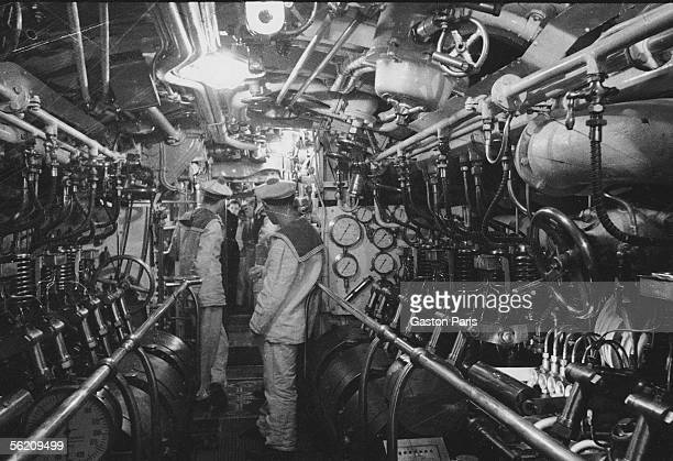 Interior of a submarine France about 1935