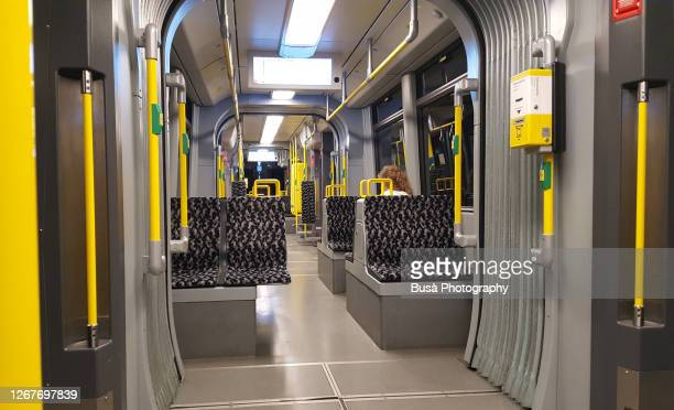 interior of a subway (u-bahn) car in berlin, germany - ticket stock pictures, royalty-free photos & images