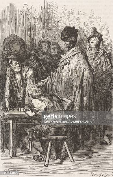 Interior of a tavern in the El Rastro market Madrid Spain drawing by Gustave Dore from Travels in Spain by Gustave Dore and Charles Davillier from Il...
