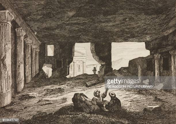 Interior of a tomb in Petra Jordan engraving from Arabie by Noel Desvergers avec une carte de l'Arabie et note by Jomard L'Univers pittoresque...