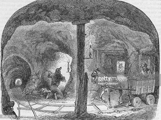 Interior of a tunnel of a gold mine during the California Gold Rush era circa 1849
