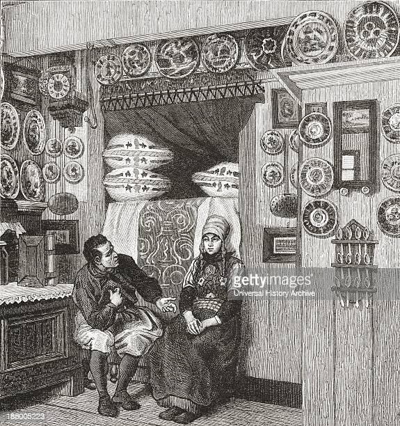 Interior Of A Typical Wooden House On The Island Of Marken The Netherlands In The 19Th Century From Pictures From Holland By Richard Lovett Published...