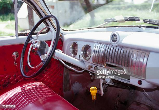 interior of a vintage car, havana, cuba - man made age stock pictures, royalty-free photos & images